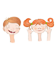 Boy and girl smile vector