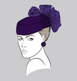 Woman with small purple hat vector