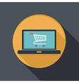 Flat icon laptop with symbol shopping cart vector