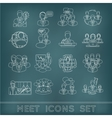 Meeting outline icons set vector