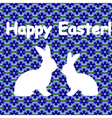 White silhouette of two easter bunny rabbits vector