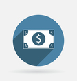 Dollar bill circle blue icon with shadow vector