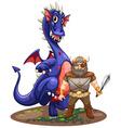 Dragon and viking vector