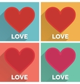 Set of flat typographic valentines day cards with vector