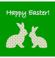 Silhouette of two easter bunny rabbits vector