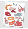 Meat doodles lined paper colored vector