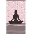 Yoga card with meditating woman vector