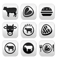 Beef meat cow buttons set vector