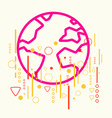 Earth on abstract colorful geometric light vector
