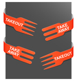 Left and right side signs - takeout and takeaway vector