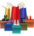 Boxes with woman shoes and shopping bags vector