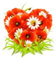 Spring flowers in the shape of heart vector