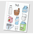 Milk doodles lined paper colored vector