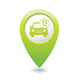 Car with tools icon map pointer green vector