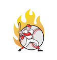American baseball player batting ball vector