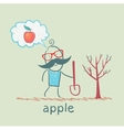 Man plants a tree and thinks about the apple vector
