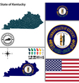 Map of kentucky with seal vector