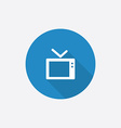 Tv flat blue simple icon with long shadow vector