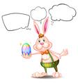 Cartoon thinking easter bunny vector