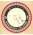 Vintage label-sticker cards of marshall islands vector