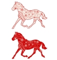Set of red horses vector