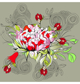 Decorative background with peony flower vector