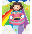 A girl driving her pink car vector