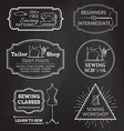 Set of linear chalk badges labels logo templates vector