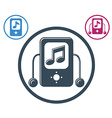 Mp3 player round icon isolated single color music vector