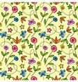 Cartoon seamless pattern with flowers and butterfl vector