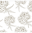 Monochrome seamless background with hydrangea vector