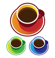Colorful coffee cups top view vector