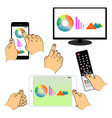 Set of hands and devices vector