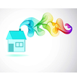 House icon and color abstract wave vector
