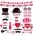 Valentine photo booth and scrapbooking set vector