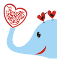 Elephant with bird heart valentines day card vector