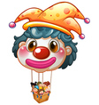 A big clown balloon with kids in the big basket vector