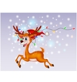 Cute deer cartoon with colorful bulb vector