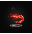 Shrimp seafood poly design background vector