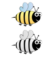 Bee cartoon in color and black-white vector