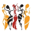African dancers silhouette set vector