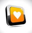 Love 3d square button vector