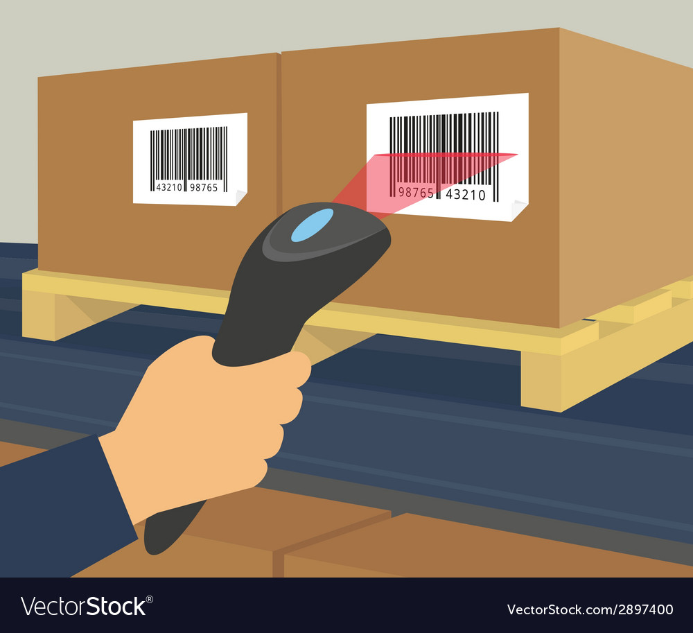 Barcode scanning at the warehouse vector | Price: 1 Credit (USD $1)