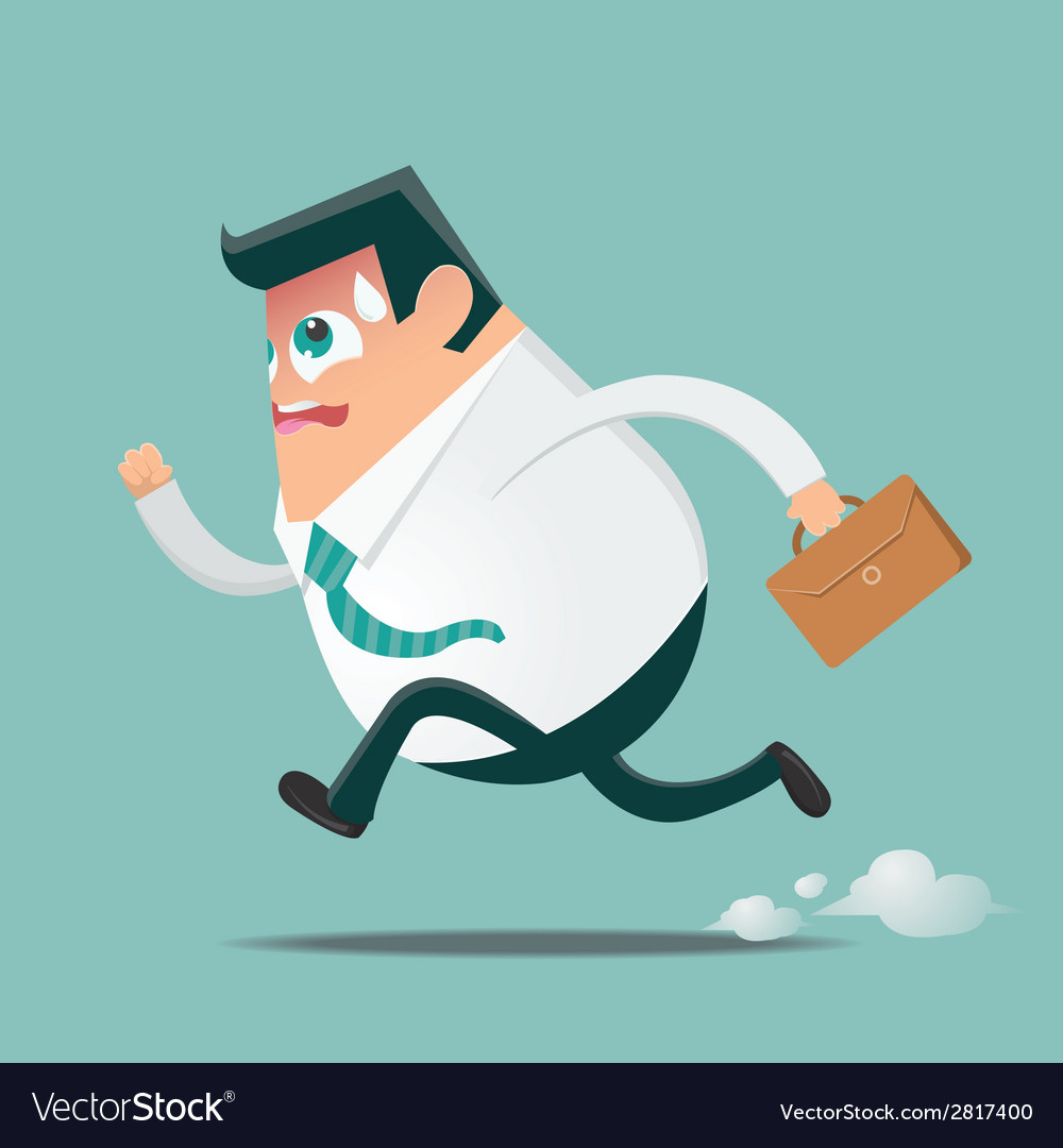 Businessman in hurry preview vector | Price: 1 Credit (USD $1)