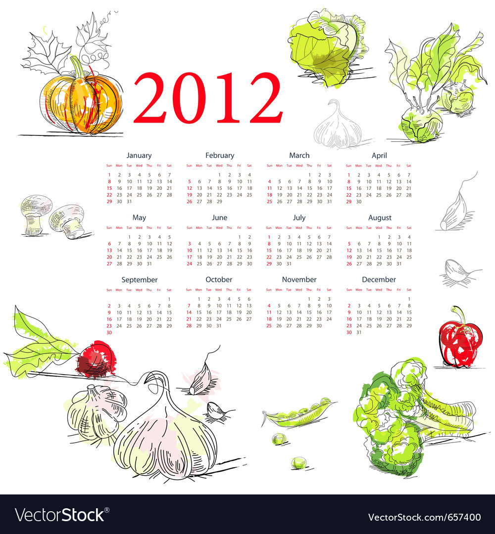 Calendar for 2012 with vegetable vector | Price: 1 Credit (USD $1)