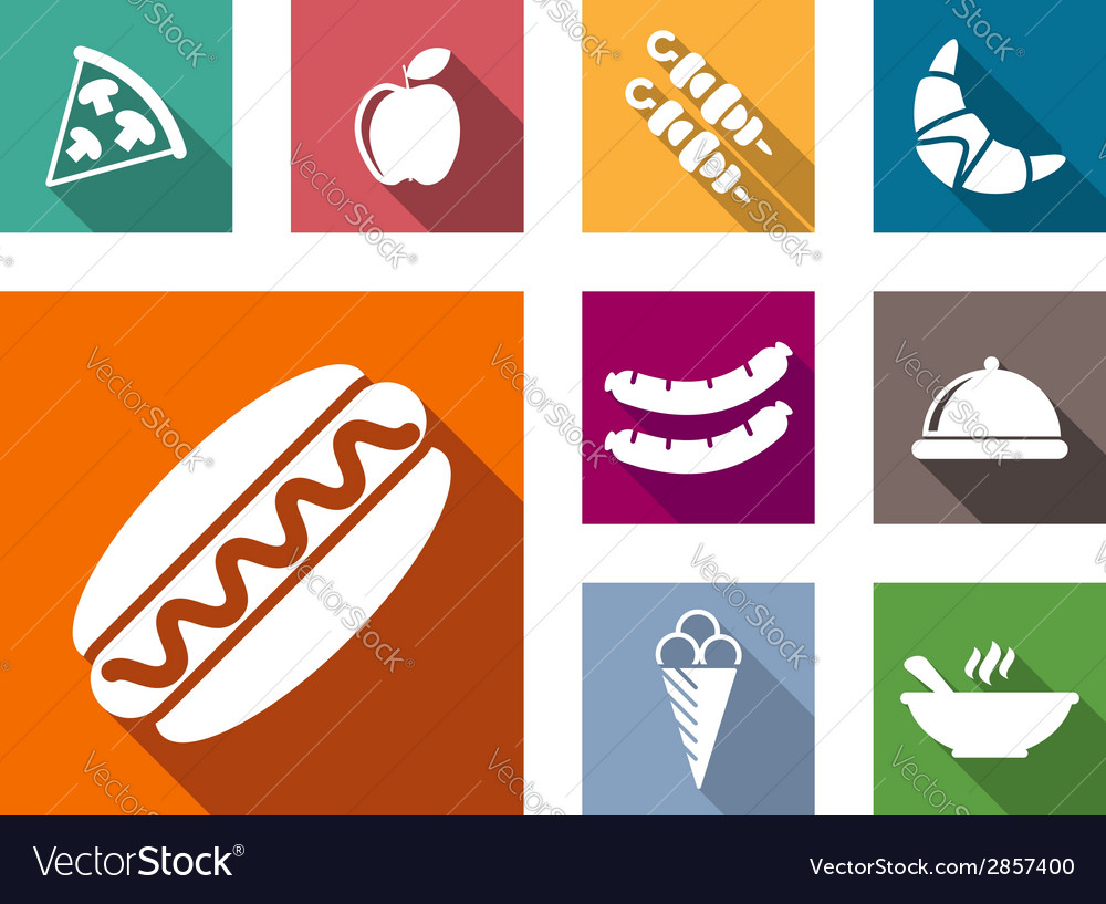 Flat colorful food icons vector | Price: 1 Credit (USD $1)