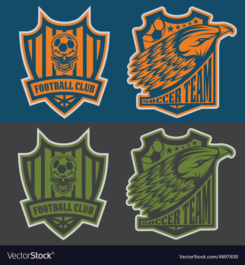 Football team crest set with eagle and skull vector   Price: 1 Credit (USD $1)