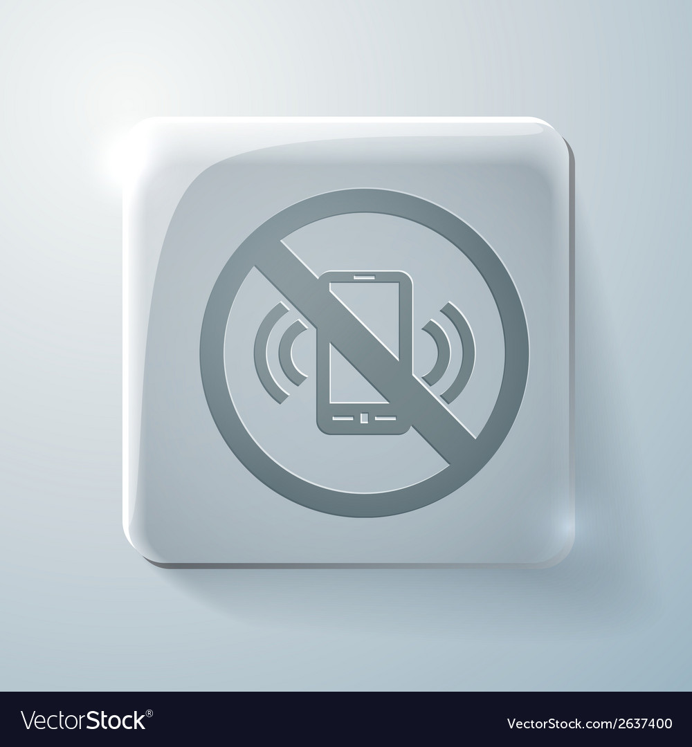 Forbidden to use mobile phone glass square icon vector | Price: 1 Credit (USD $1)