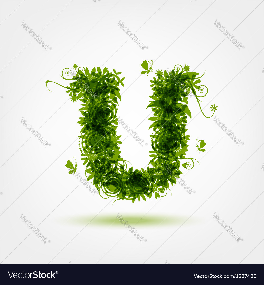 Green eco letter u for your design vector | Price: 1 Credit (USD $1)