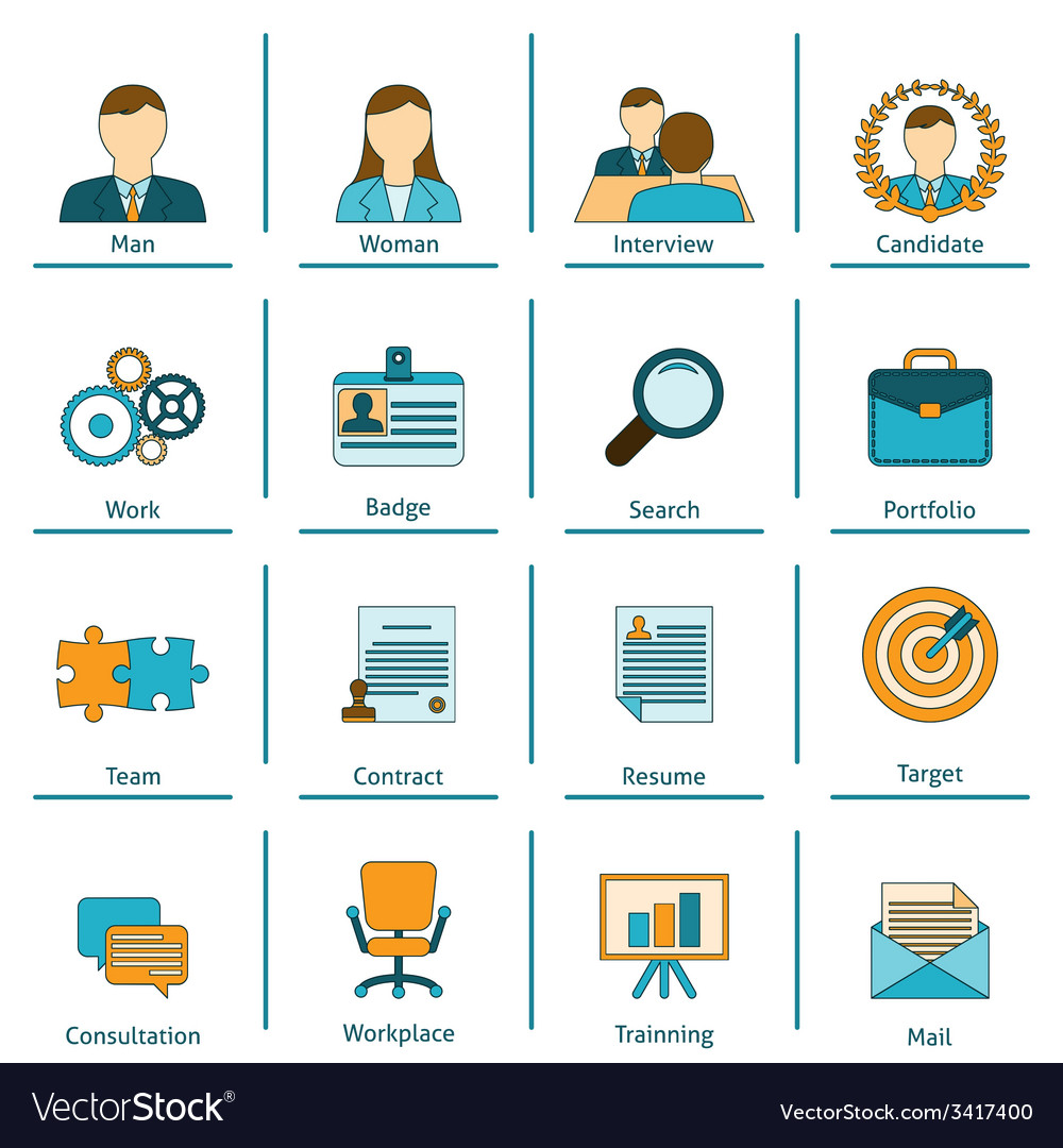 Human resources flat icons set vector | Price: 1 Credit (USD $1)